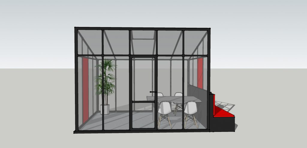 Glashausbüro mit Bank Abb. 1