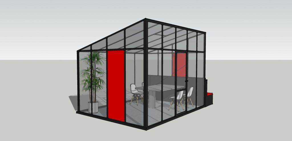 Glashausbüro mit Bank Abb. 2